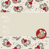 White beige yellow orange red animal childish seamless pattern with little teddy bears holding hearts and torn paper and glossy button with a teddy bear on right scrapbook background — Stock Vector