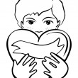 Young school preschool boy holding a heart as a gift romantic Valentine's Day Birthday type card monochrome illustration on white background — Stock Vector #20025771