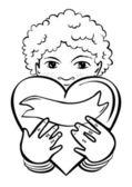 Mladá škola školka africké dítě drží srdce jako dárek romantický valentýn nebo narozeniny typ karty monochromatický ilustrace na bílém pozadí — Stock vektor