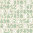 Stock Vector: Turquoise numbers on beige background grunge seamless pattern
