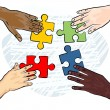 African american asian caucasian indian human hands holding pieces of puzzle colorful illustration — Stock Vector #21409297