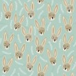 Little brown bunnies on blue patterned background Easter holiday semaless pattern — Imagen vectorial