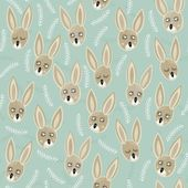 Little brown bunnies on blue patterned background Easter holiday semaless pattern — Stock Vector