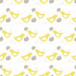 Yellow birds singing of love on white background with little dots romantic love marriage wedding seamless pattern — Stock Vector