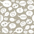 White beige brown monochrome love message speech bubbles on dark background romantic seamless pattern — Stock Vector #22685341