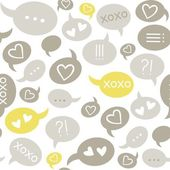 Love message speech bubbles gray beige brown yellow on white background seamless pattern — Stock Vector