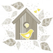 Yellow birds in wooden bird box on white background with beige gray leaves and dots romantic love marriage wedding illustration — Stock Vector #22891884
