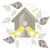 Yellow birds kissing in front of wooden bird box on white background with beige gray leaves and dots romantic love marriage save the date wedding illustration — Stock Vector