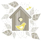 Yellow birds in wooden bird box on white background with beige gray leaves and dots romantic love marriage wedding illustration — Stock Vector