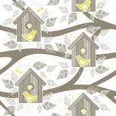 Yellow birds in wooden bird box on white background with beige gray leaves branches and dots romantic love marriage wedding seamless pattern — Stock Vector
