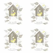 Yellow birds in wooden bird box on white background with beige gray leaves and dots romantic save the date invitation rsvp thank you love marriage wedding illustration — Stock Vector