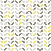 Retro beige yellow brown leaves shaped elements in rows on white background abstract geometric seamless pattern — Stock Vector