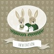 Wedding invitation with delicate grunge oval portrait of rabbit bride and groom on dark brown background with border hearts — Stock Vector