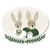 Two rabbits portrait of bride and groom on delicate grunge oval background isolated on white — Stock Vector