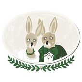 Rabbits in love portrait of bride and groom on delicate grunge oval background isolated on white — Stock Vector