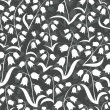 Monochrome delicate silhouette flowers with leaves lilies of the valley type on dark background floral seamless pattern — 图库矢量图片
