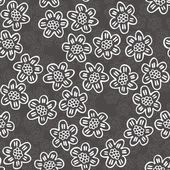 Monochrome delicate white lace flowers with petals with lines on dark gray background cartoon style floral seamless pattern — Stock Vector