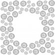 Monochrome delicate gray lace flowers on white cartoon style floral background with round blank place for your text in center of the card — Stock Vector