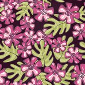 Wild tropical exotic pink flowers and green leaves on purple patterned background floral seamless pattern — Stock Vector