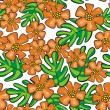 Colorful wild exotic orange flowers and green leaves on white background cartoon style floral seamless pattern — Imagens vectoriais em stock