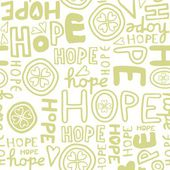 Hope retro colors hand drawn light green monochrome graffiti seamless pattern on white background — Stock Vector