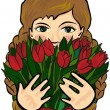Young caucasian girl with long braided hair holding red tulips spring flowers — Stock Vector #25059749