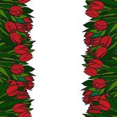 Red spring tulips in two rows with green leaves on white background floral seamless vertical border — Stock Vector