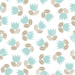 Royalty-Free Stock Vector Image: Retro blue tulips with beige leaves messy meadow on white background seamless spring summer pattern
