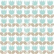 Royalty-Free Stock Vector Image: Retro blue tulips with beige leaves in rows on white background seamless spring summer pattern