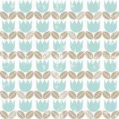 Rétro tulipes bleus avec le fil beige laisse en rangées sur le motif de fond blanc sans couture printemps été — Vecteur