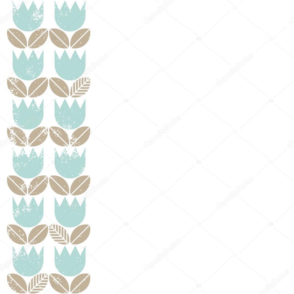 米色复古蓝色郁金香叶上白色背景无缝春夏季两行垂直边框
