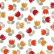 Retro red orange yellow tulips and brown beige leaves messy meadow on white grunge background seamless pattern — Stock Vector