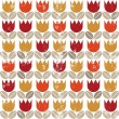 Retro red orange yellow tulips and brown beige leaves on white grunge background seamless pattern — Stock Vector