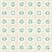 Delicate beige blue turquoise flower shaped geometric round elements in regular rows on beige background seamless pattern — Stock Vector