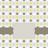 Colorful beige brown yellow white dots in regular rows geometrical seamless pattern on gray background with retro frame on dark ribbon scrapbook card background — Stock Vector