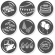 Party time celebration cake gifts hats balloons flat gray monochrome button set with shadow on white background — Stock Vector