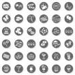 36 party time sweets drinks celebration monochrome isolated gray flat icon set with light shadow on white background — Stock Vector #26369393