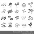 Stock Vector: 20 party celebration sweets food dessert monochrome isolated icon set on white background