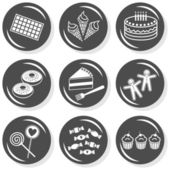 Food dessert sweets chocolate ice cream cake donuts gingerbread lollipops cupcakes flat gray monochrome button set with shadow on white background — Stock Vector