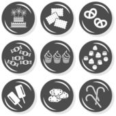 Food cake biscuits cookies pretzels sweets cupcakes chocolates ice cream lollipops flat gray monochrome button set with shadow on white background — Stock Vector