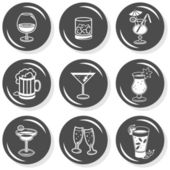 Party time drinks alcohol champagne wine beer cognac whiskey flat gray monochrome button set with shadow on white background — Stock Vector