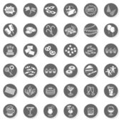 36 party time sweets drinks celebration monochrome isolated gray flat icon set with light shadow on white background — Stock Vector