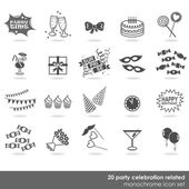 20 party celebration food drink dress decor elements monochrome isolated icon set on white background — Stock Vector
