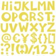 Sunny yellow light patterned letters and numbers on white background alphabet set — Stock Vector