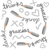 Monochrome crayons thanks grazie grazias danke english italian spanish german text cartoon style seamless pattern with gray doodle elements on white background — Stock Vector