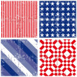 Blue red white stripe star square geometric elements in horizontal and vertical rows grunge seamless pattern decoration background set — Stock Vector #26751577
