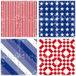 Blue red white stripe star square geometric elements in horizontal and vertical rows grunge seamless pattern decoration background set — Stock Vector