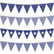 Stock Vector: Star and stripes patterned triangle shaped flags blue bunting set
