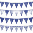 Dots stripes chevron triangles patterned flags on gray rope blue holiday celebration decoration bunting set colorful isolated elements on white background — Stock Vector