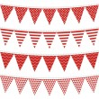Stock Vector: Dots stripes chevron triangles patterned flags on gray rope red holiday celebration decoration bunting set colorful isolated elements on white background